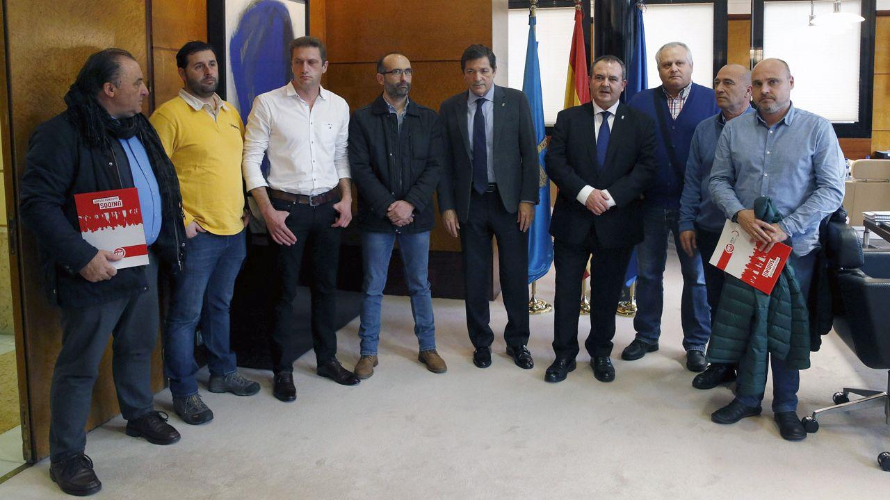 El comité de empresa de Alcoa, con el presidente del Principado, Javier Fernández, y con el consejero de Industria, Isaac Pola