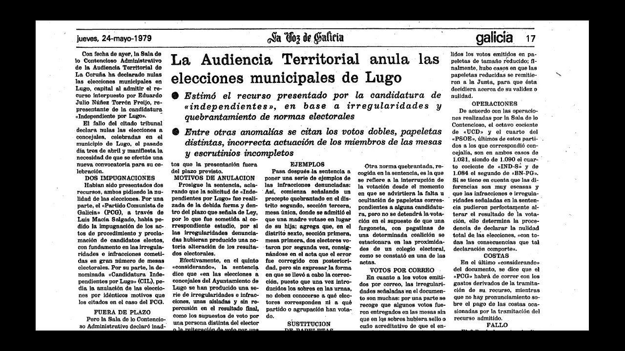 Detalle de la página de La Voz que informaba de la anulación de las elecciones municipales de Lugo celebradas el 3 de abril de 1979