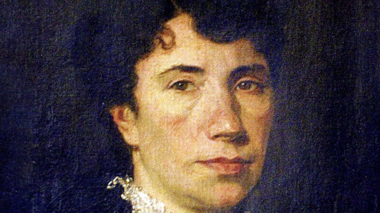 Detalle del retrato de Rosalía de Castro realizado por Modesto Brocos