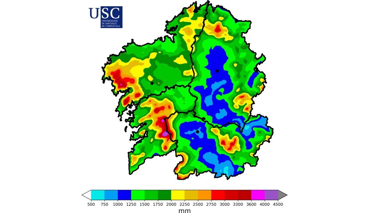 Mapa de precipitación acumulada en el año 2018