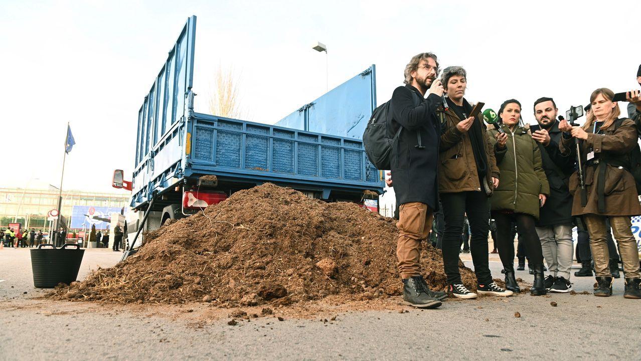 Un activista de Extinction Rebellion llevó un camión cargado de estiércol hasta la cumbre