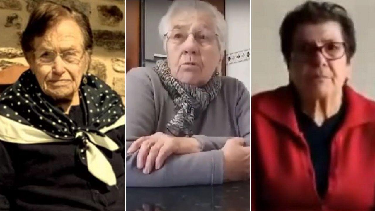 El trabajo documental «Tres mulleres de Varilongo» recoge el testimonio de María Josefa Espasandín (Maripepa de Rieiro), con 106 años, es la vecina más longeva de Santa Comba; María Ángeles Lois, de Os Fornos; y María Domínguez, de San Salvador (sobre estas líneas, de izquierda a derecha)