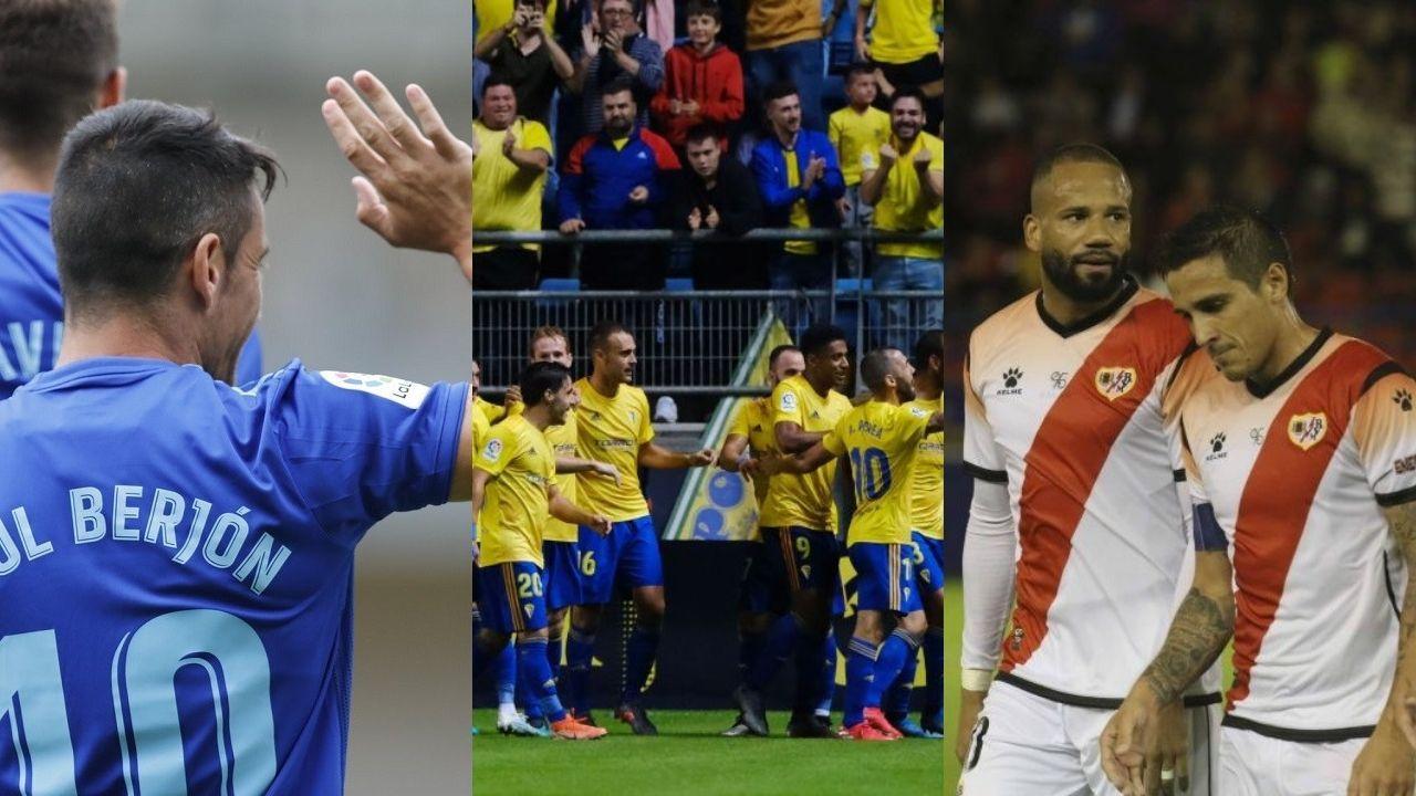 Arribas Alex Lopez Real Oviedo Extremadura Carlos Tartiere.Saúl, los jugadores del Cádiz y Bebé y Trejo celebran un tanto