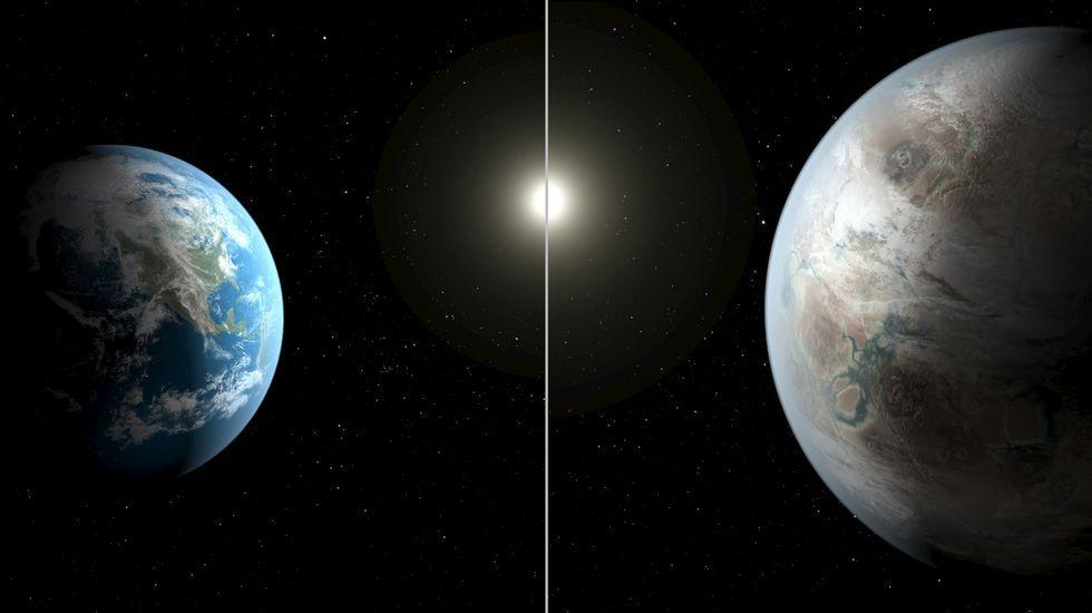 Una ilustración artística compara la Tierra (izda.) con el Kepler 452b.