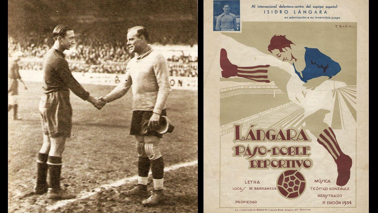 A la izquierda, Zamora saluda a Isidro Lángara antes de un partido internacional. A la derecha, la ilustración de un pasodoble dedicado al delantero