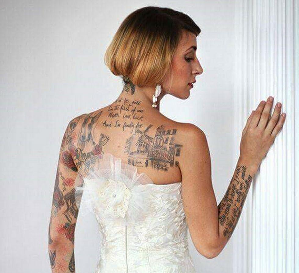 Kelly Salgado vestida de novia para Franco Quintáns