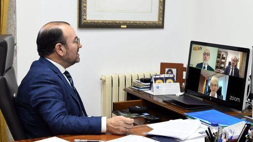 El rector de la USC, Antonio López, en el acto en línea de presentación de la Nueva Estrategia Nacional de Inteligencia Artificial