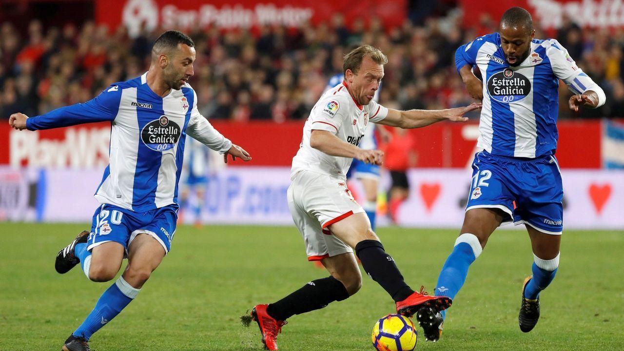 Krohn-Dehli, en diciembre, jugando con el Deportivo contra el Sevilla