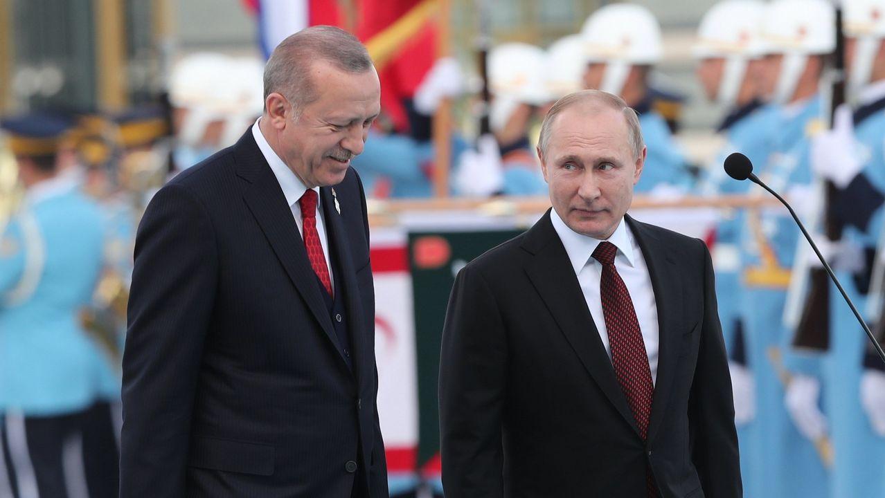 Las imágenes delataquede los aliadosa Siria.Rohaní, Erdogan y Putin se reunieron en la capital turca para tratar el conflicto sirio