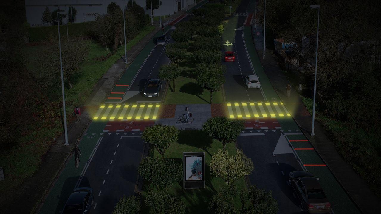 Paso de peatones lumínico que se instalará en el Barrio do Carmen