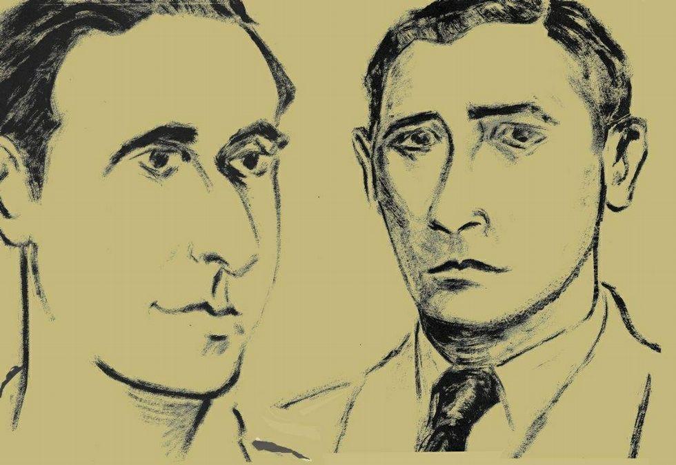 Debuxos dos guerrilleiros feitos por Siro para a homenaxe.