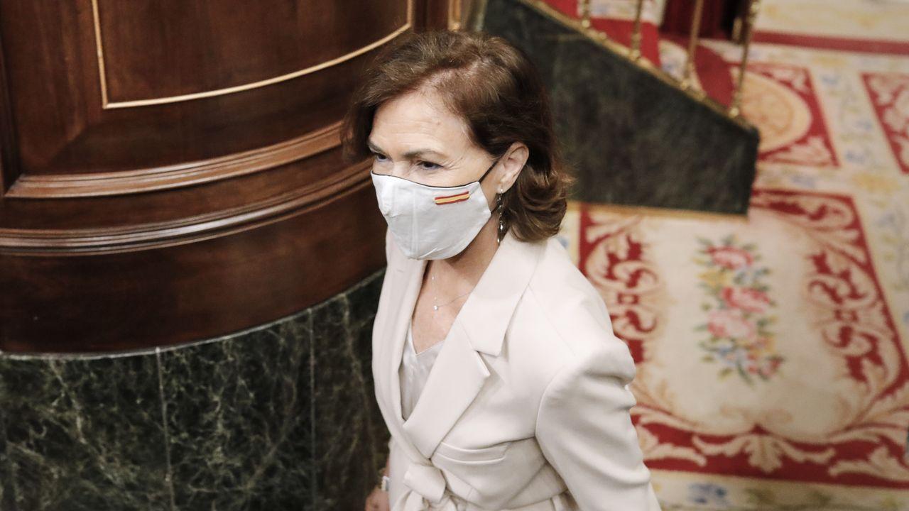 La vicepresidenta primera del Gobierno, Carmen Calvo, este miércoles 22 de julio en el Congreso