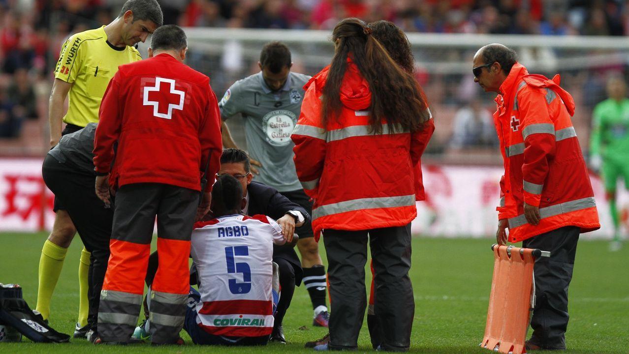 Los futbolistas del Granada mantean al técnico Diego Martínez