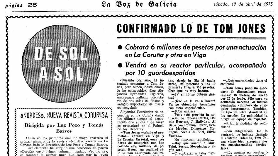 Imagen de una información de La Voz de Galicia del 19 de abril de 1975
