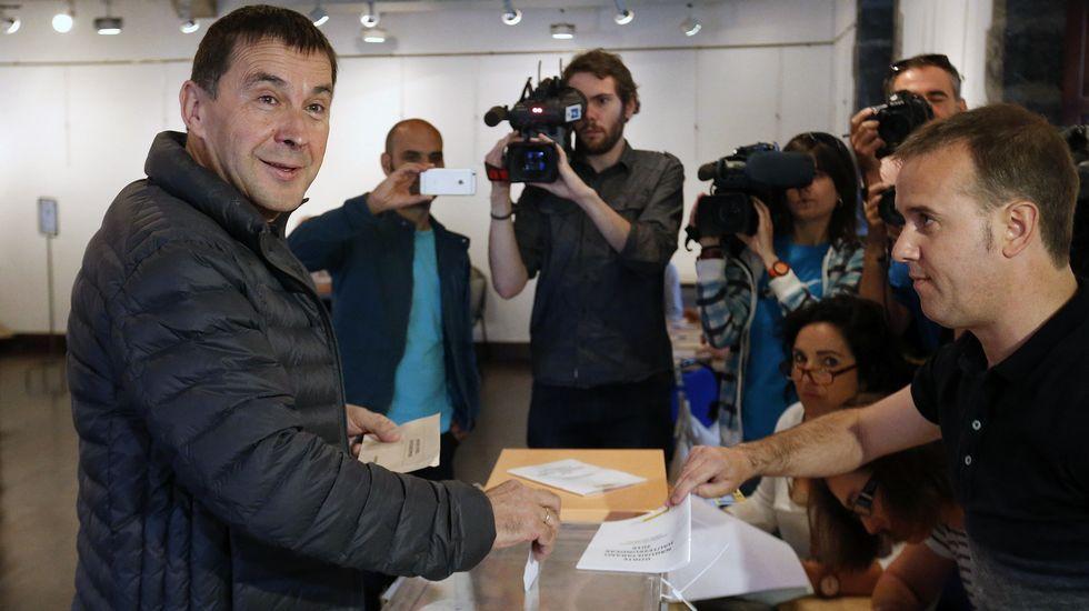 El líder de la izquierda abertzale, Arnaldo Otegi, acude a votar en la Casa de Cultura de la localidad guipuzcoana de Elgoibar