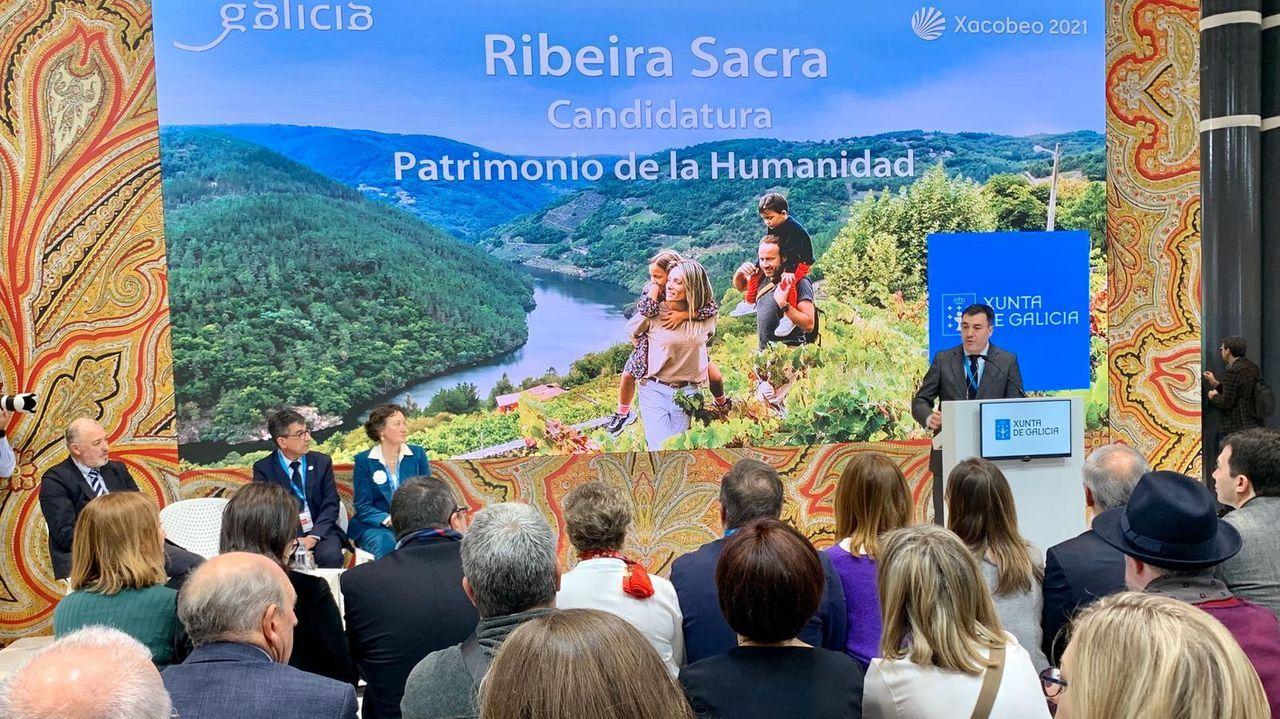 Presentación pública de la candidatura de la Ribeira Sacra a patrimonio de la humanidad a cargo del conselleiro de Cultura, Román Rodríguez, en la última edición de la feria turística Fitur en Madrid