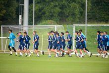 convocatoria entrenamiento Requexon Real Oviedo.Los jugadores del Real Oviedo durante un entrenamiento