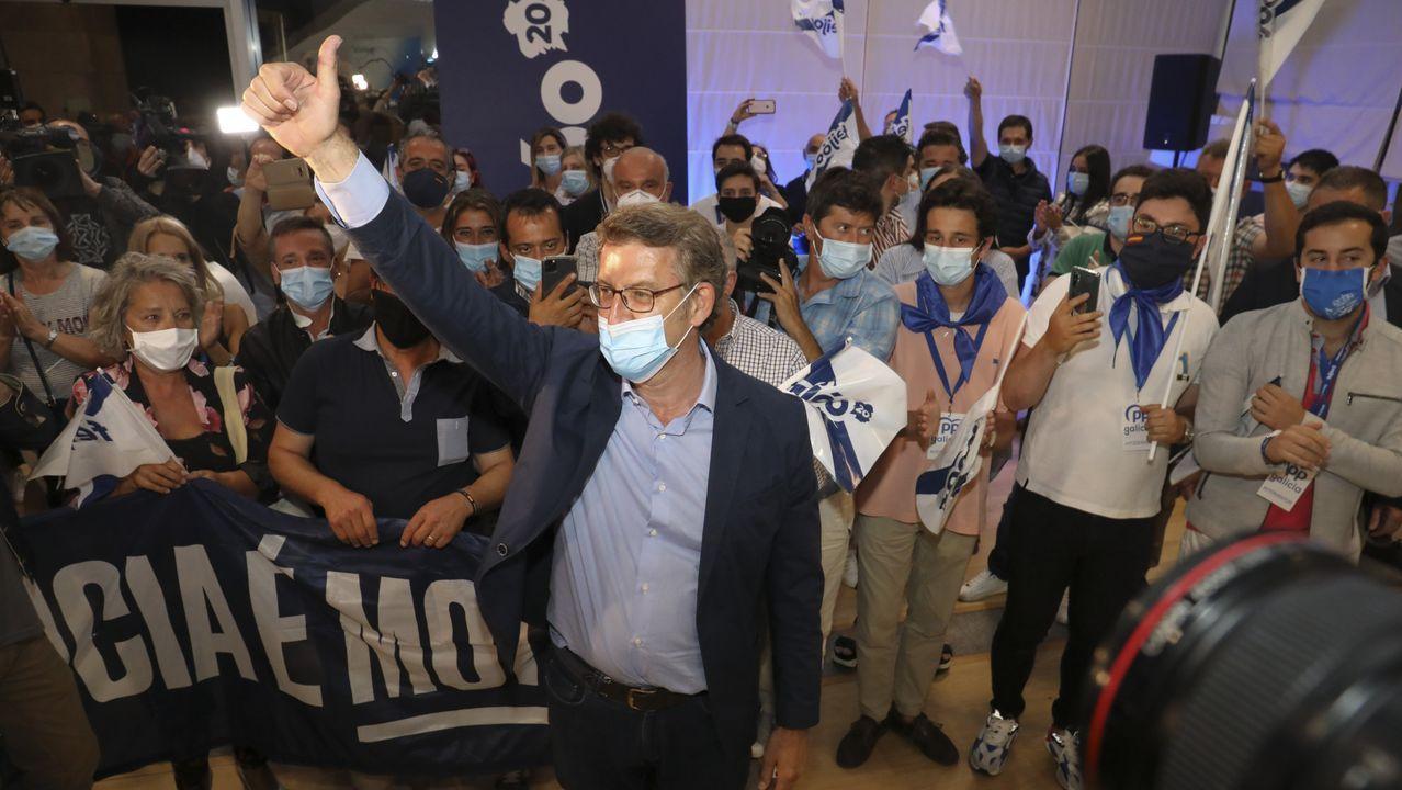 El presidente del Partido Popular, Alberto Núñez Feijoo, tras valorar el resultado de las elecciones gallegas.