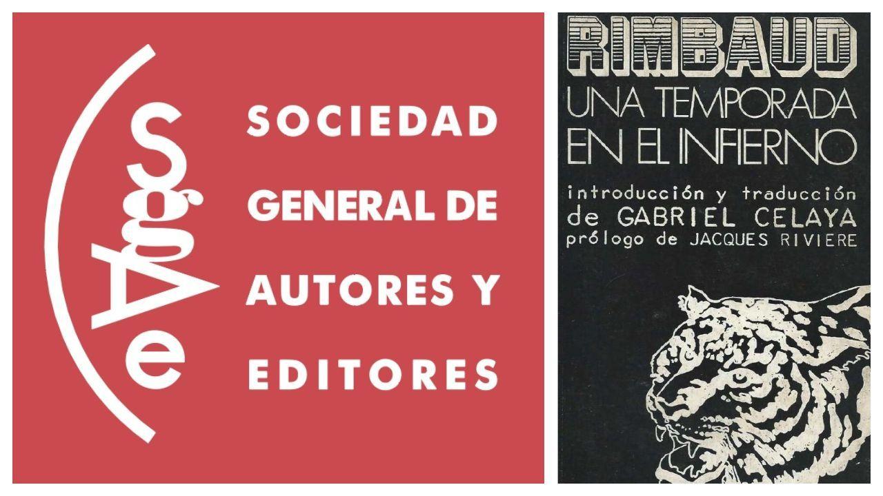 Logo de la SGAE y portada del primer número de la colección Visor que publicó el sello Alberto Corazón Editor, «Una temporada en el infierno», de Rimbaud
