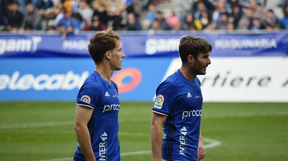 Susaeta y Erice durante el Real Oviedo-Nástic