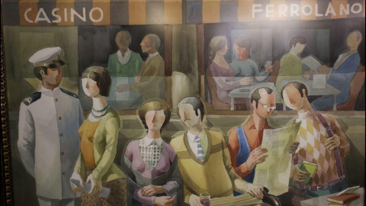 En la imagen, la obra «La casta», dedicada al Casino Ferrolano, donde Collado inauguró su primera exposición individual con solo 18 años