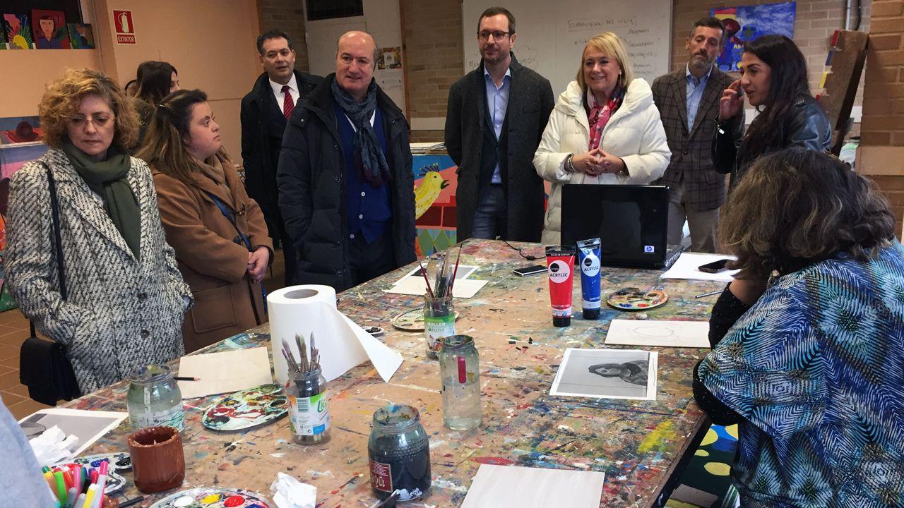 Mercedes Fernández (PP).Javier Maroto y Mercedes Fernández en su visita a la Fundación Vinjoy en Oviedo