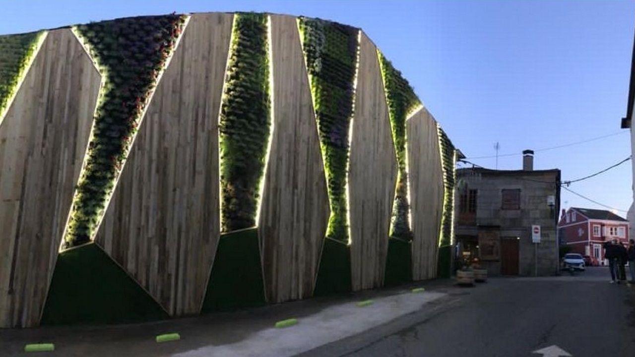 Resultado final del montaje del nuevo jardín vertical en el camino de Santiago