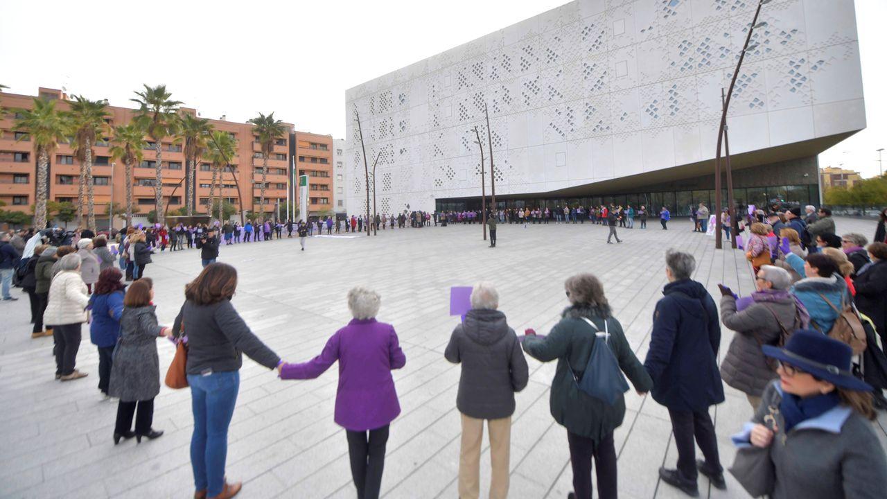 Un centenar de personas convocadas por la Plataforma Cordobesa contra la Violencia a las Mujeres se han concentrado esta mañana ante la Ciudad de la Justicia de Córdoba para mostrar su apoyo a la supuesta víctima abusos