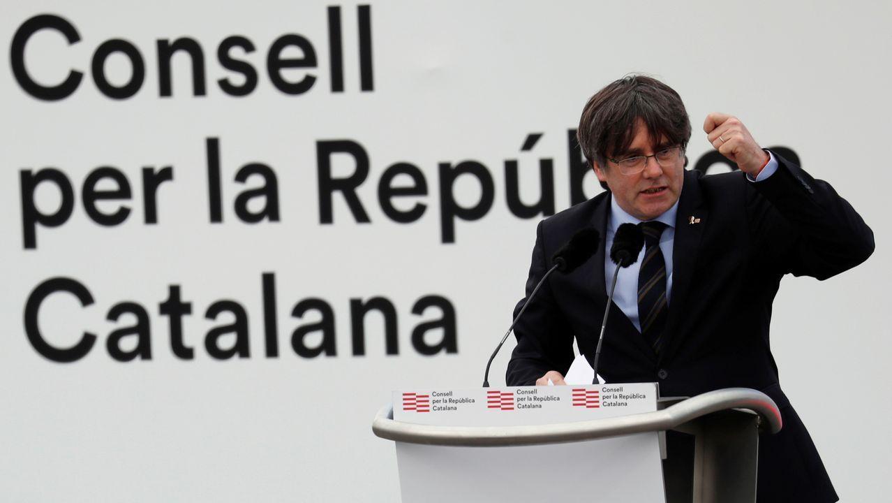 Carles Puigdemont, durante su intervención en un acto en Perpiñán