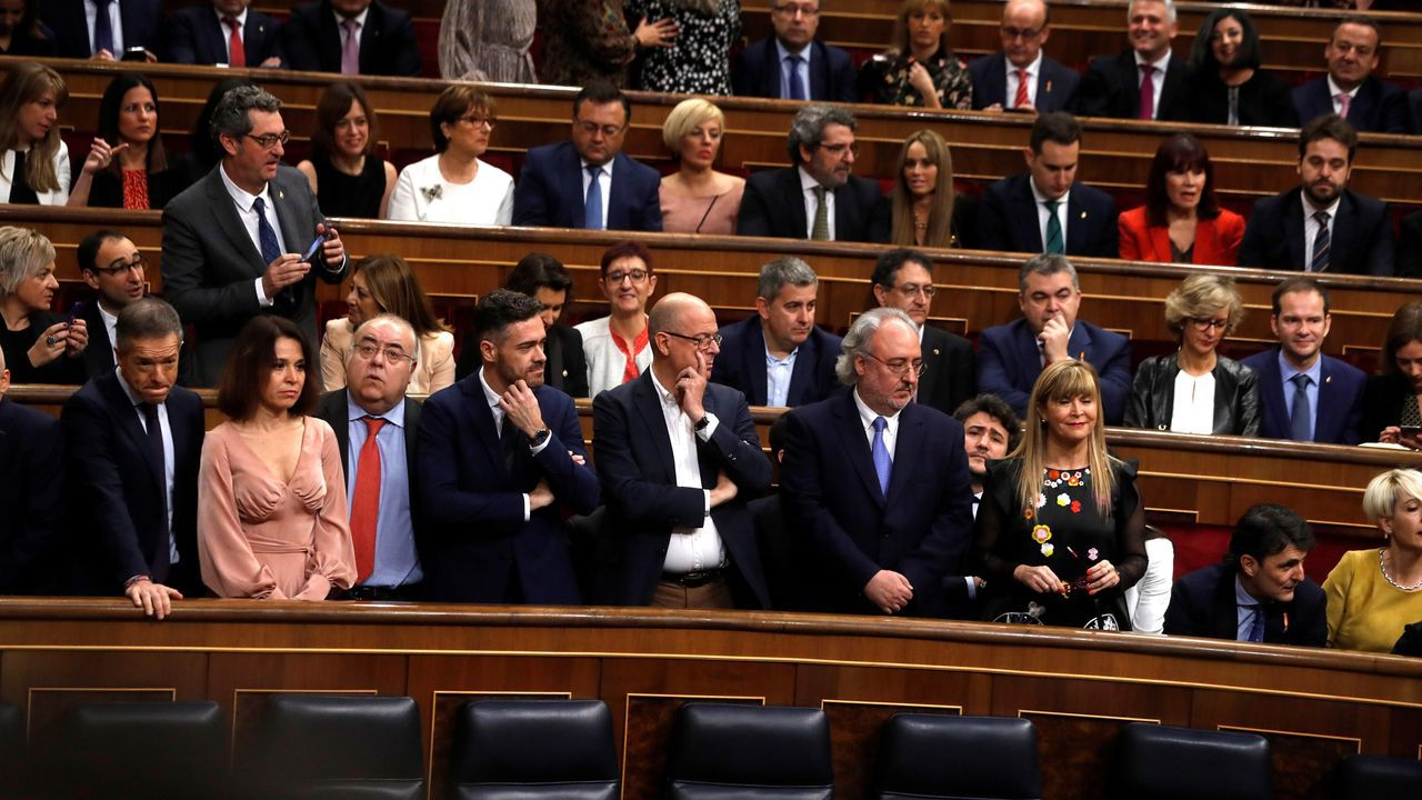 Acto oficial de apertura de la legislatura en el Congreso.Pedro Sánchez y Pablo Iglesias, en el Congreso