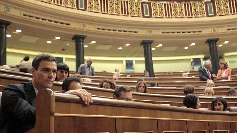 Un diputado de Amaiur rompe unas páginas de la Constitución en el Congreso.Bancada socialista durante un pleno del Congreso