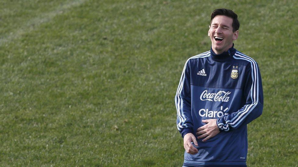 Messi, en un entrenamiento de la selección argentina