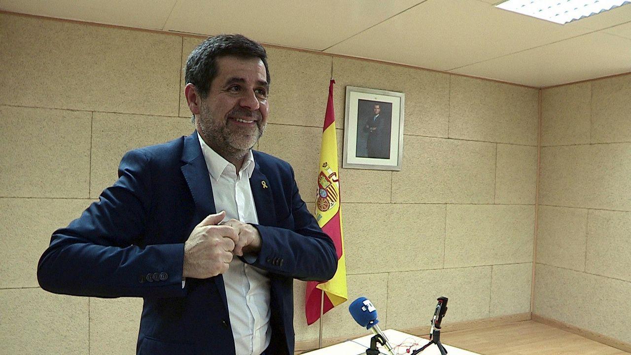 Jordi Sánchez, en una rueda de prensa ofrecida desde la cárcel madrileña de Soto del Real