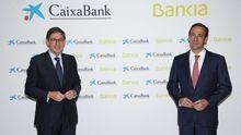 El presidente de Bankia y el consejero delegadode CaixaBank presentan el acuerdo de fusión