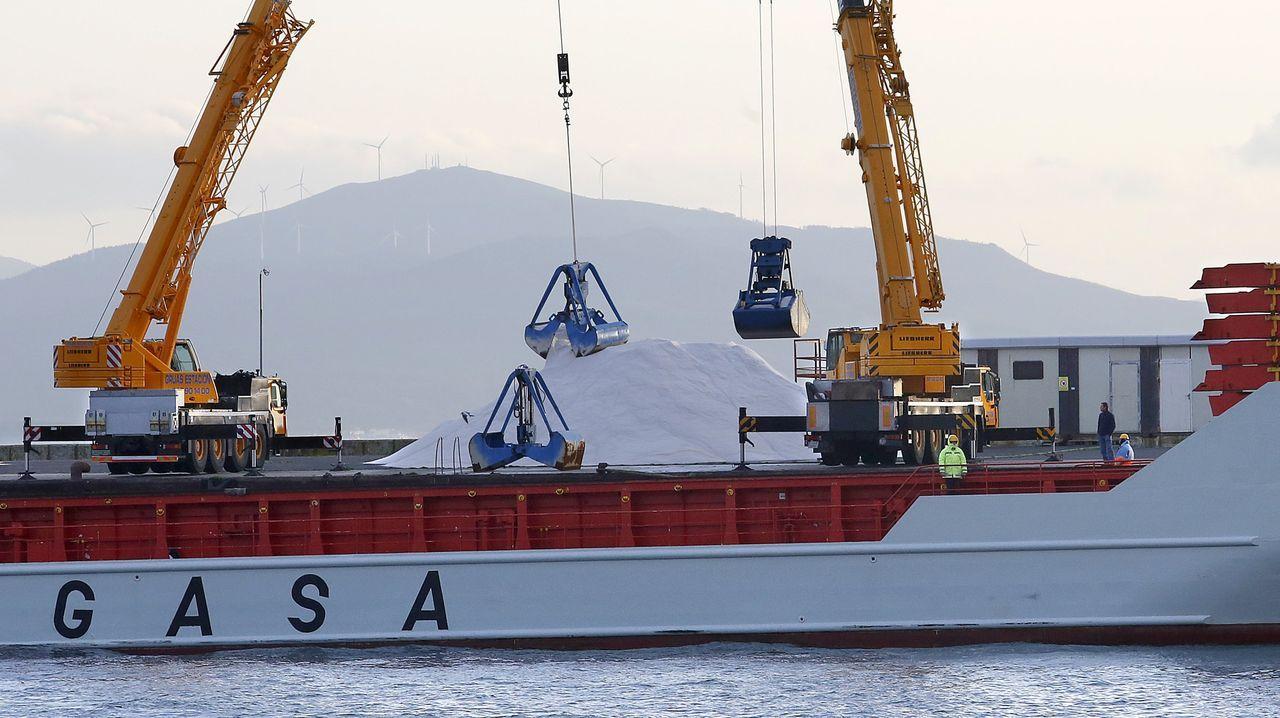 Descarga de xarda en abril del año pasado, en Burela, en A Mariña lucense, cuya flota de artes menores iniciará la costera el próximo día 1