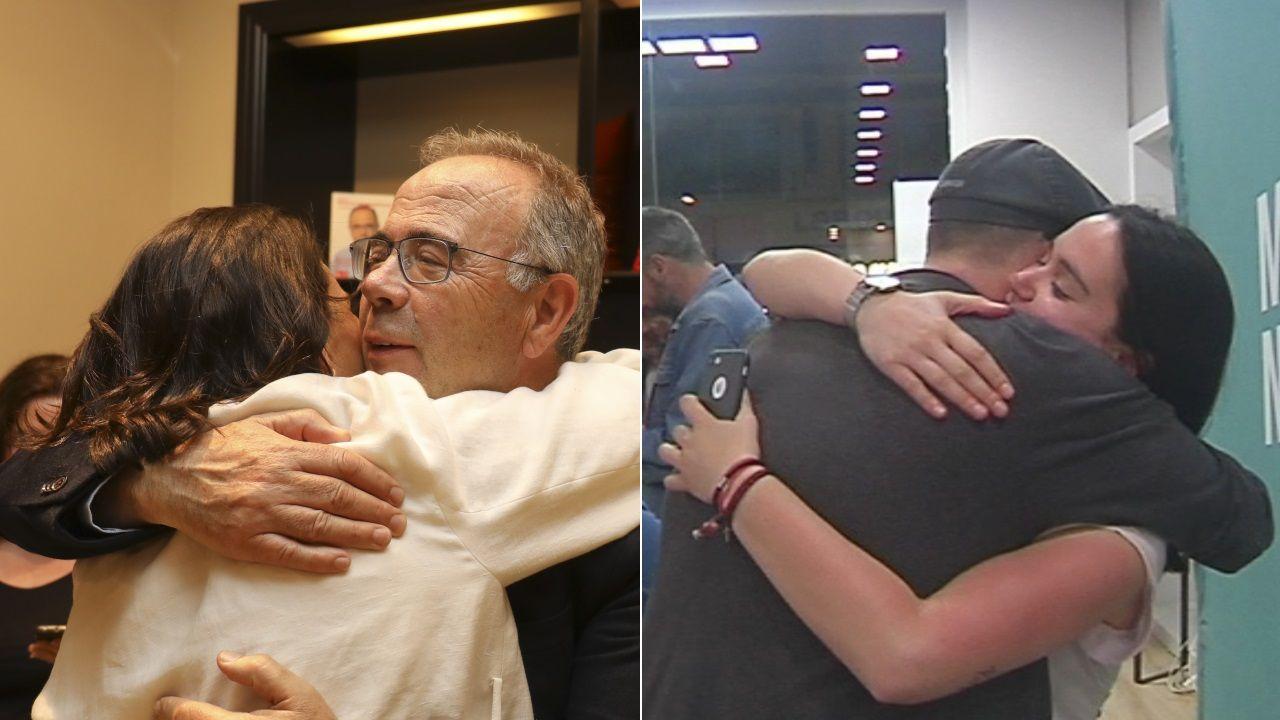 Abrazos con cara y cruz en las sedes del PSOE y Compostela Aberta.El vehículo de la víctima apareció calcinado en una pista forestal de la parroquia de Capela