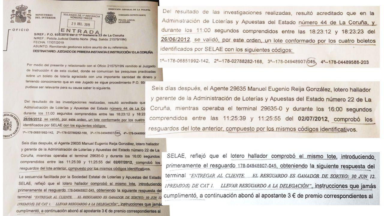 Extractos del informe policial