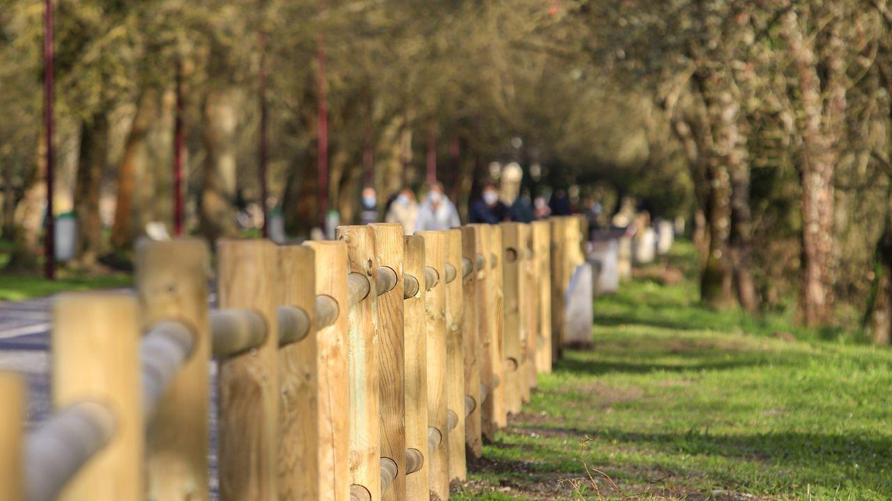 Mejoras del Muramiñae Rehabilita con la colocación de una baranda de madera en el Paseo do Miño