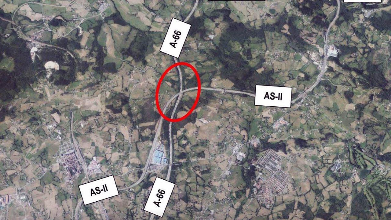 autopista Y, autovía, autopistas, Asturias, área metropolitana.Futuro enlace de la A-66 y la AS-II, en la zona de Robledo