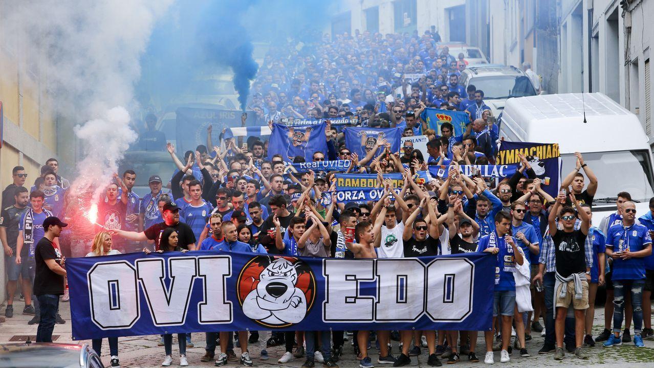 Las calles de Lugo se tiñen de azul en la previa del choque ante el Oviedo