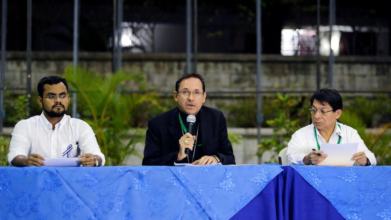 El nuncio Stanislaw Sommertag, durante la rueda de prensa en Managua