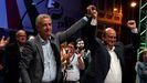Iñigo Urkullu y Andoni Ortuzas celebran la victoria del PNV en las elecciones vascas