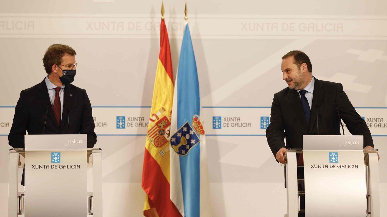 Comparecencia de Alberto Núñez Feijoo y José Luis Ábalos.Feijoo y Ábalos, en la rueda de prensa donde explicaron sus acuerdos