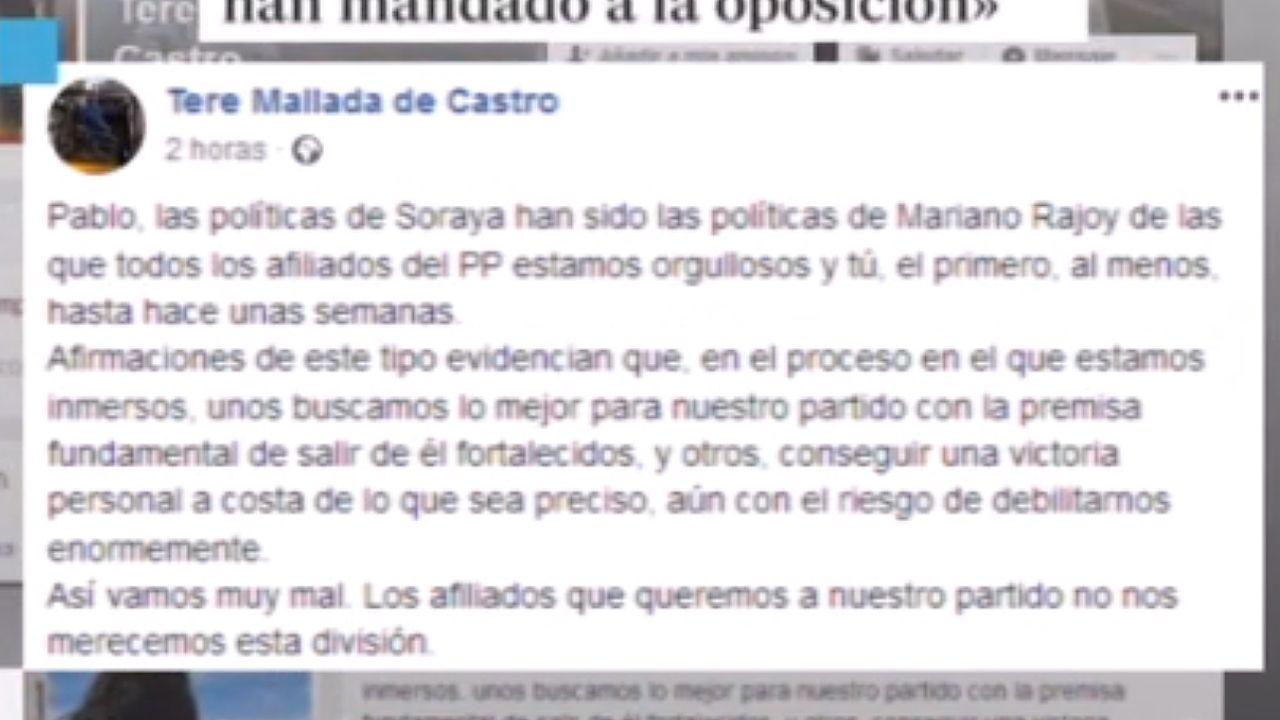 Captura del mensaje de Teresa Mallada recogido en la TPA