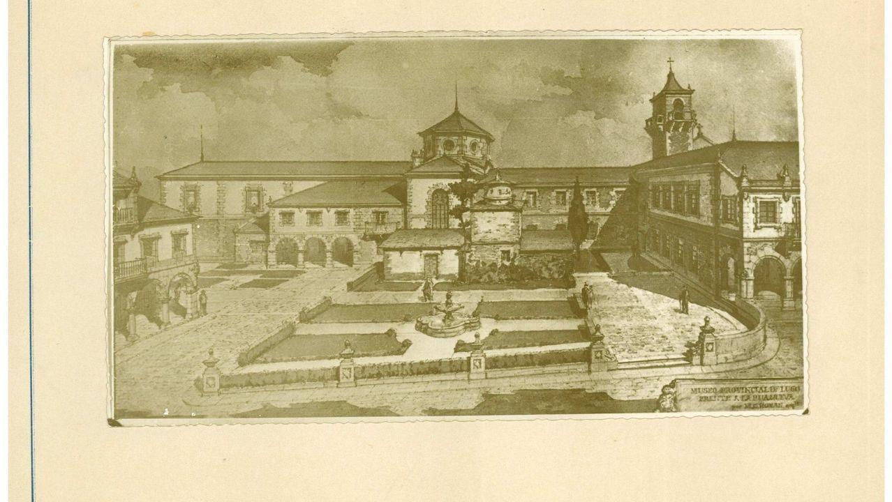 Imaxe do proxecto da praza museo-xardín elaborada por Gómez Román en 1957