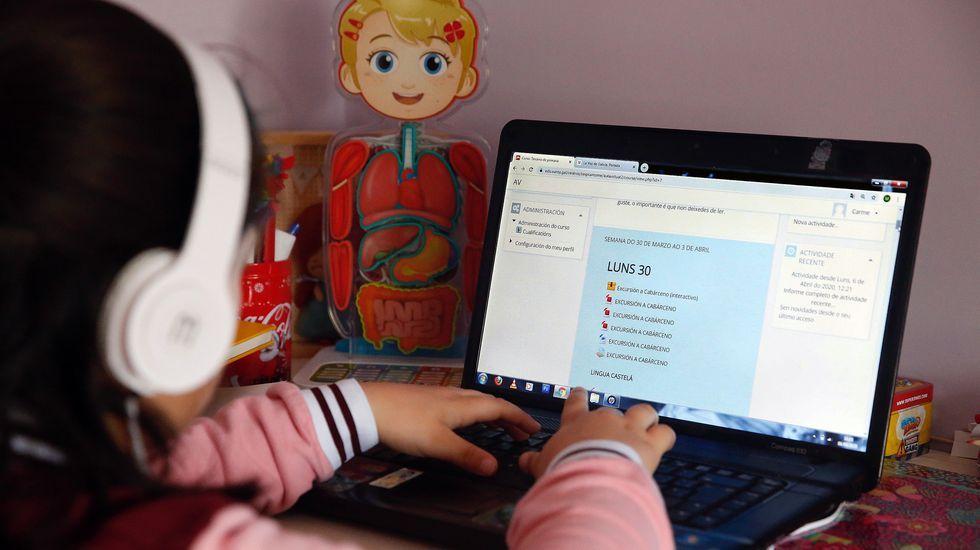Una alumna gallega trabajando a distancia