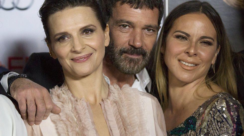 Así cogieron al Chapo Guzmán.La actriz mexicana Kate del Castillo (derecha), junto a Juliette Binoche y Antonio Banderas en una imagen de archivo