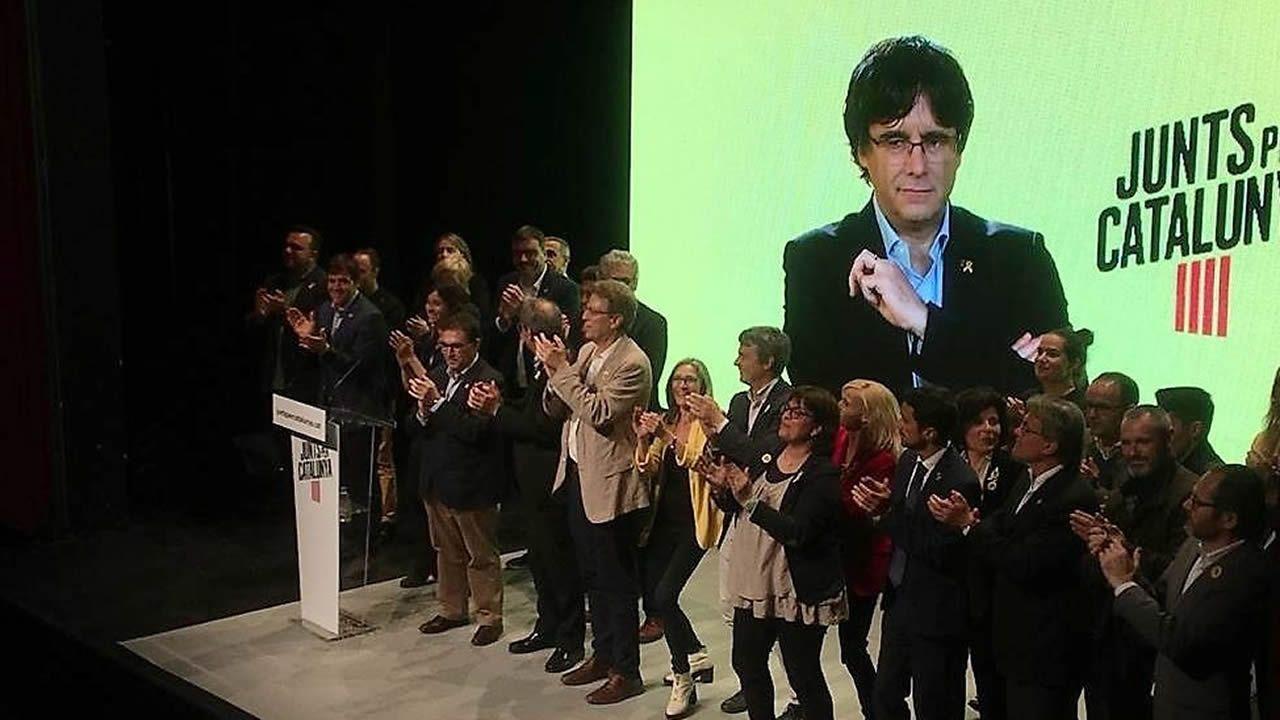 Acto electoral de JxCat, con la participación de Puigdemont vía videconferencia, en una imagen de días pasados