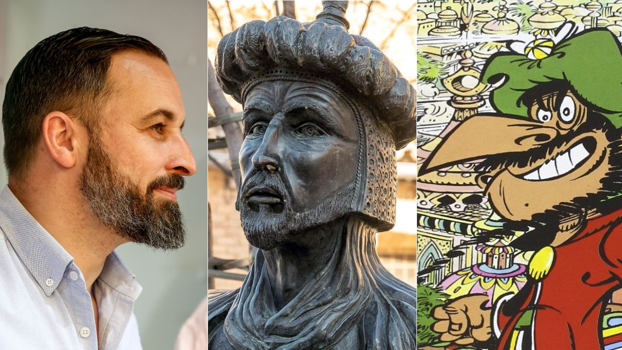 Santiago Abascal (EFE), el busto de Adberramán III (EFE) y el personaje Iznogud, el gran visir que quería ser califa en lugar del califa