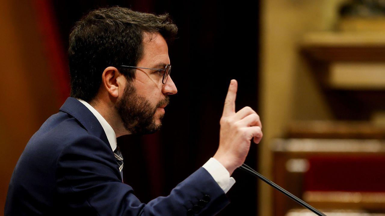 El presidente de la Generalitat, Pere Aragonés, durante su comparecencia ante el pleno del Parlamento catalán este miércoles